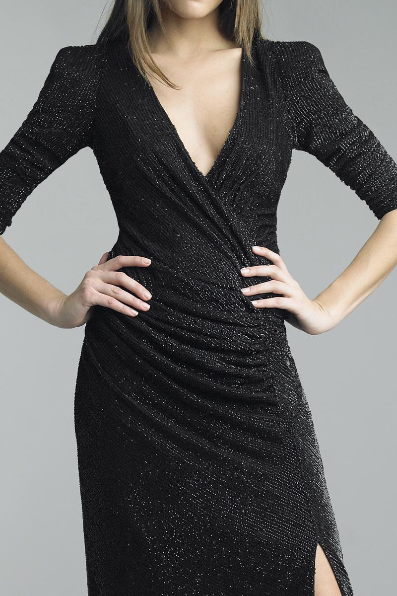 Basix - D5301L Puff Sleeve Plunging Surplice Sheath Gown in Black