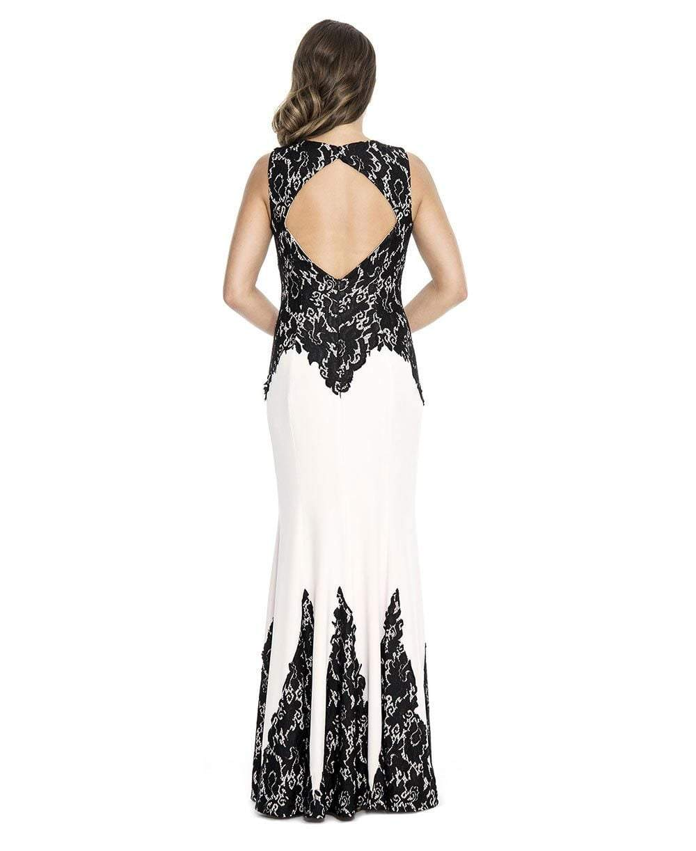 Decode 1.8 - 183973 Embroidered Fitted Jewel Evening Dress in Black and White