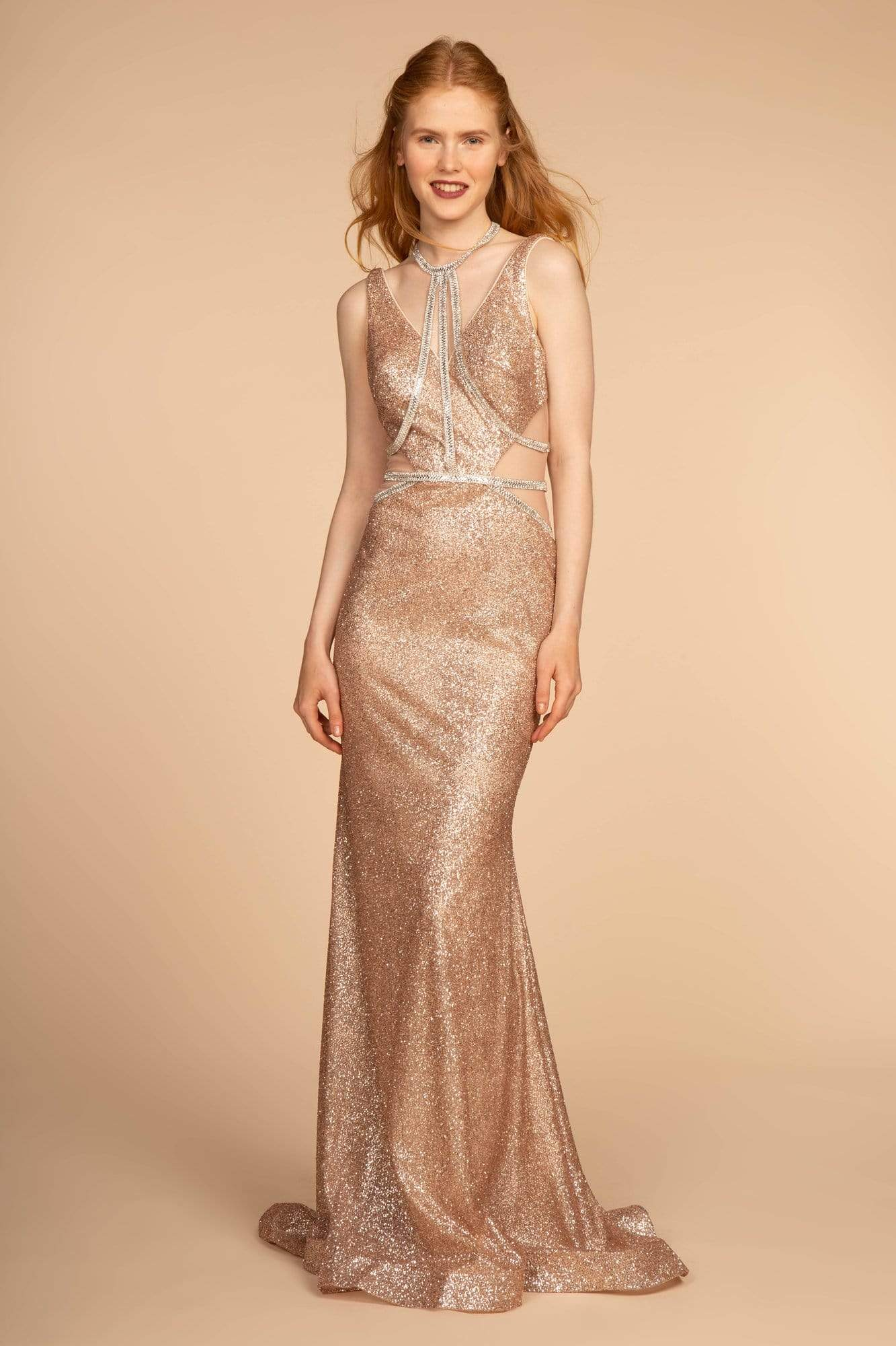 Elizabeth K - GL2509 Jeweled Halter Strap Glitter Long Gown Special Occasion Dress XS / Rose Gold
