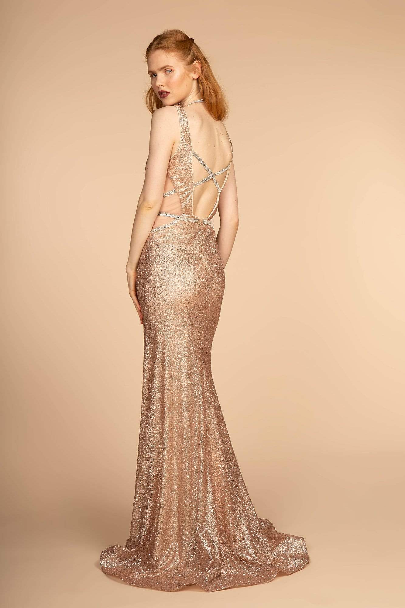 Elizabeth K - GL2509 Jeweled Halter Strap Glitter Long Gown Special Occasion Dress