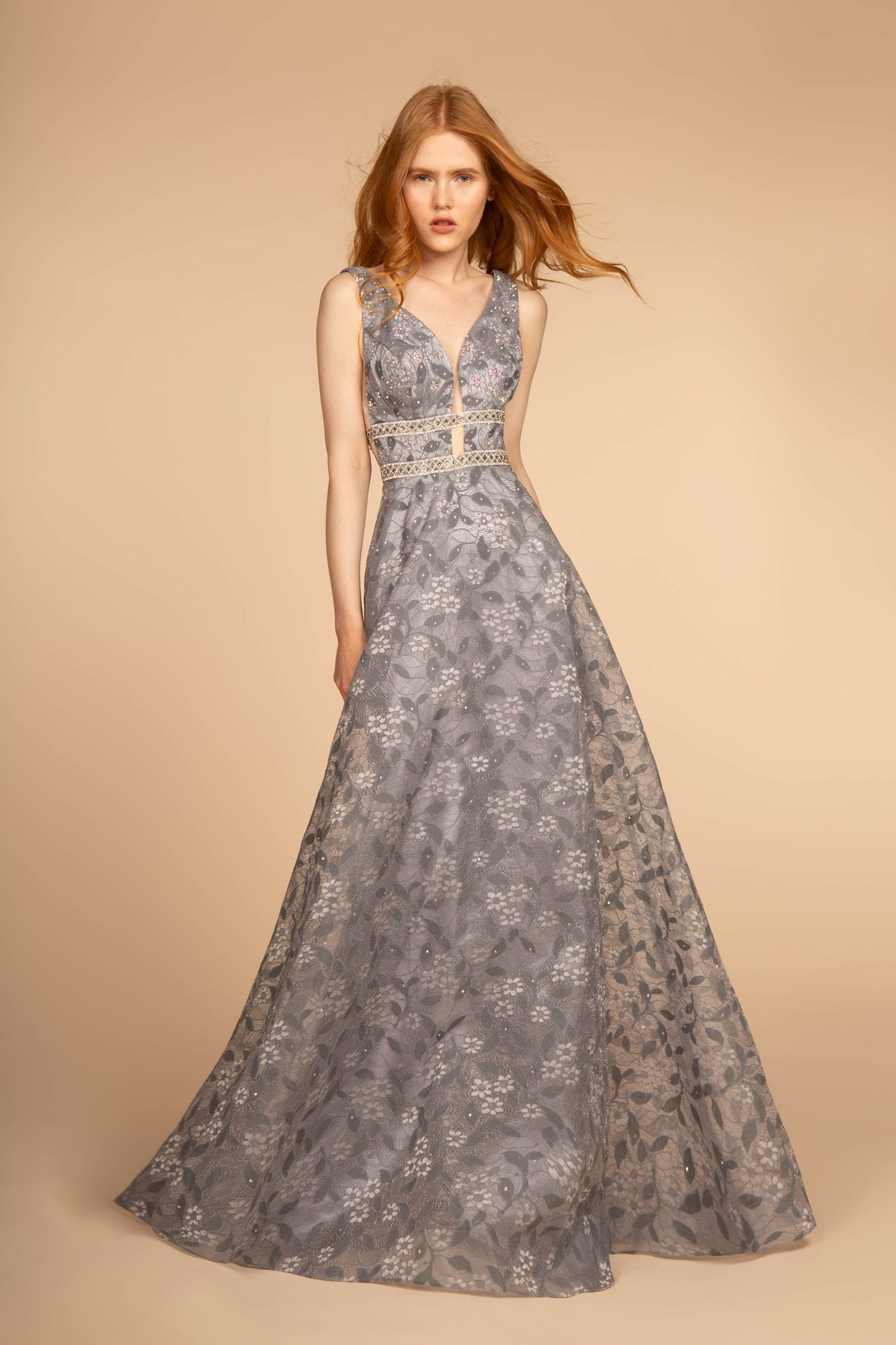 Elizabeth K - GL2580 Jewel-Studded Plunging V-Neck Long Gown In Gray