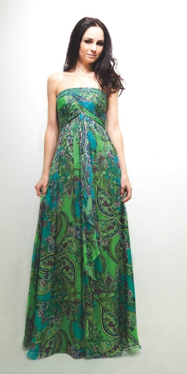 Decode 1.8 - 181508 Beaded and Printed Chiffon A-line Dress in Green and Print