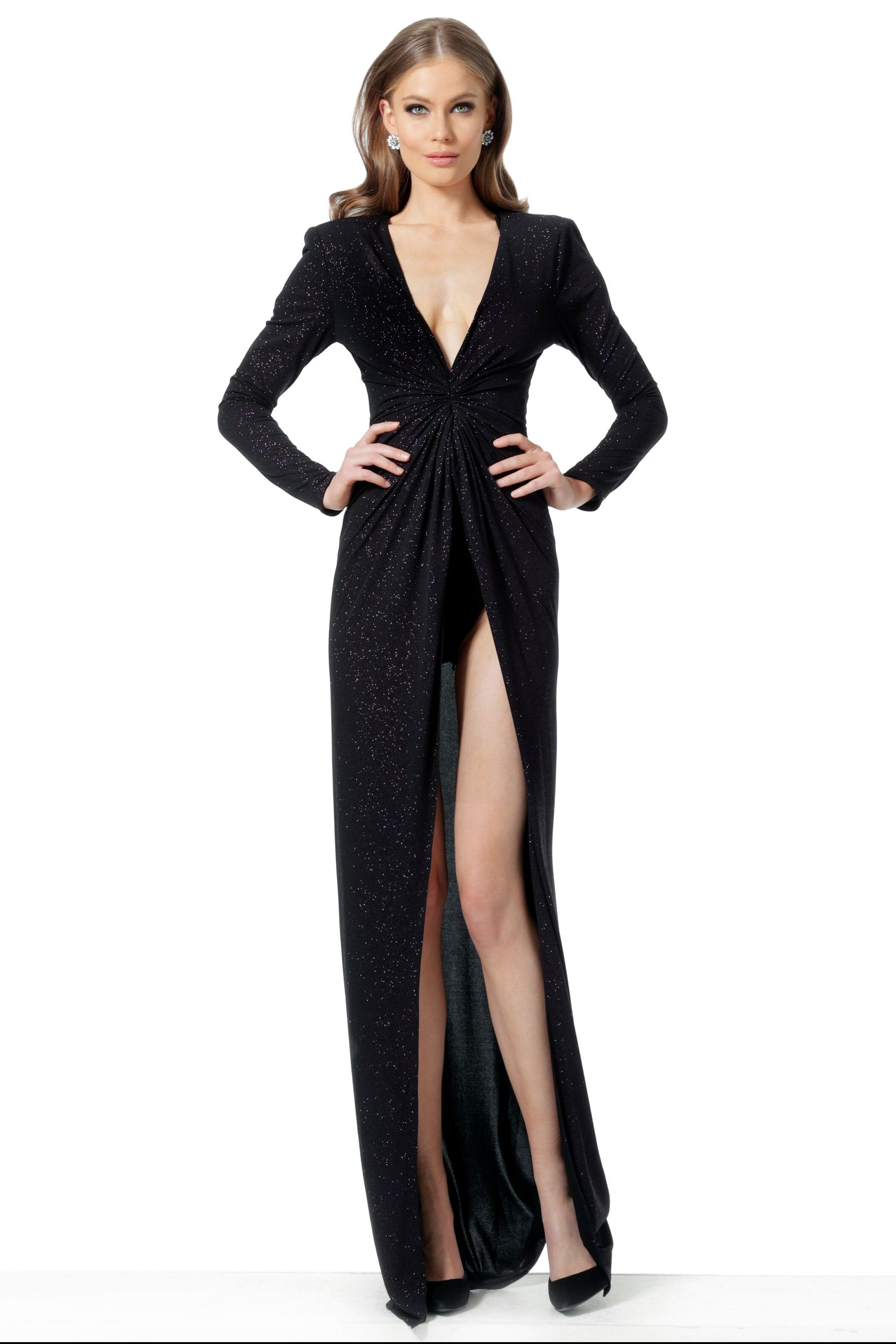 Jovani - 1708 Long Sleeve Deep V-neck Sheath Dress With Slit In Black and Pink