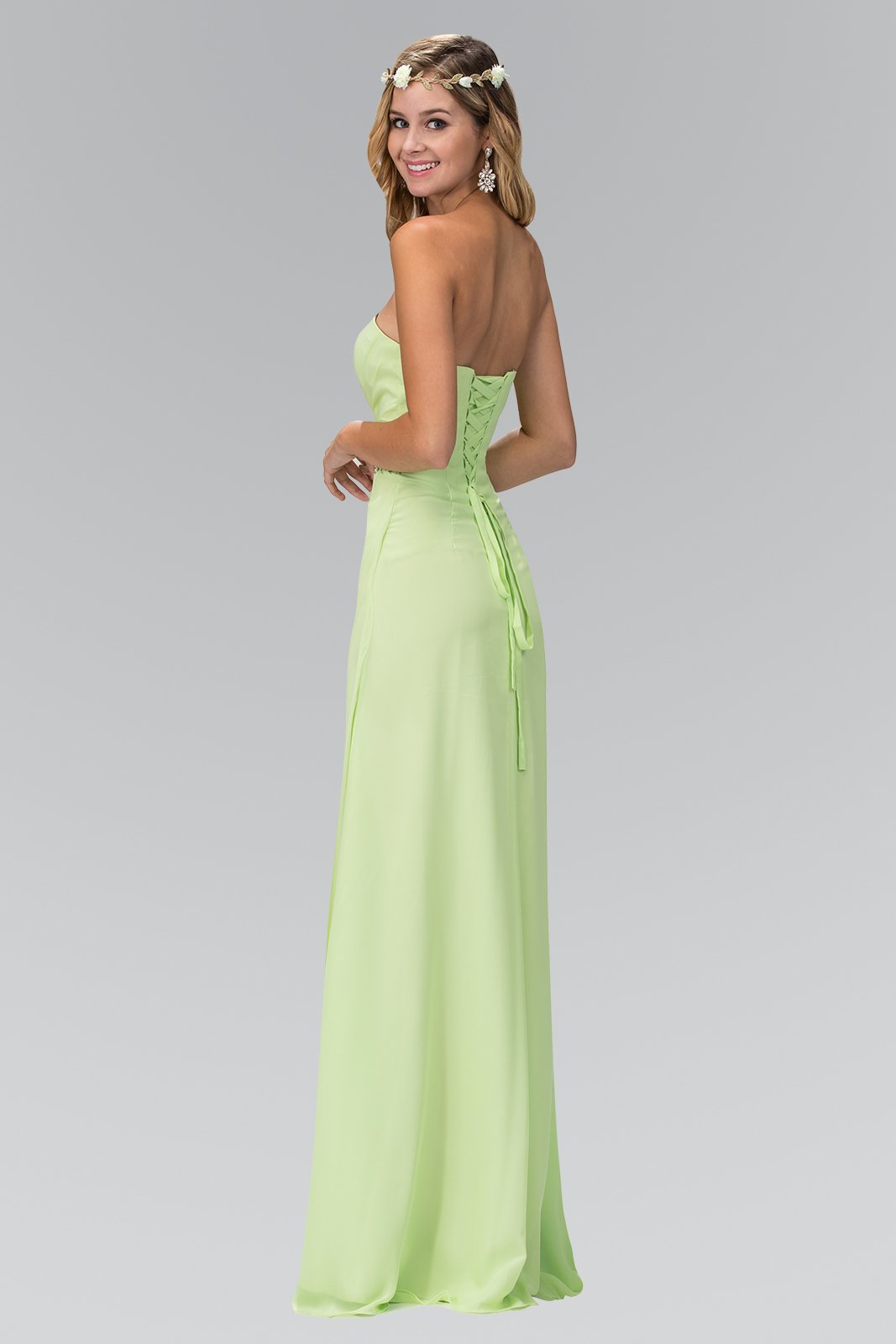 Elizabeth K - GL2060 Crystal Beaded Strapless Sweetheart A-Line Gown In Green