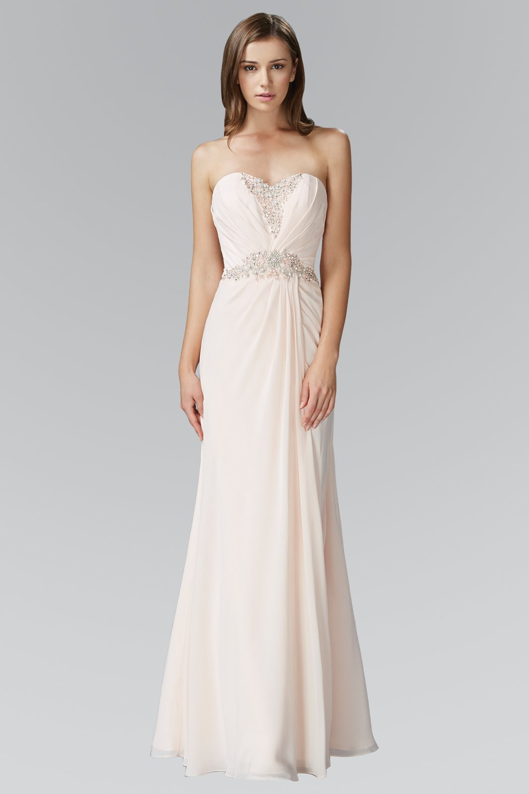Elizabeth K - GL2060 Crystal Beaded Strapless Sweetheart A-Line Gown In Pink and Neutral