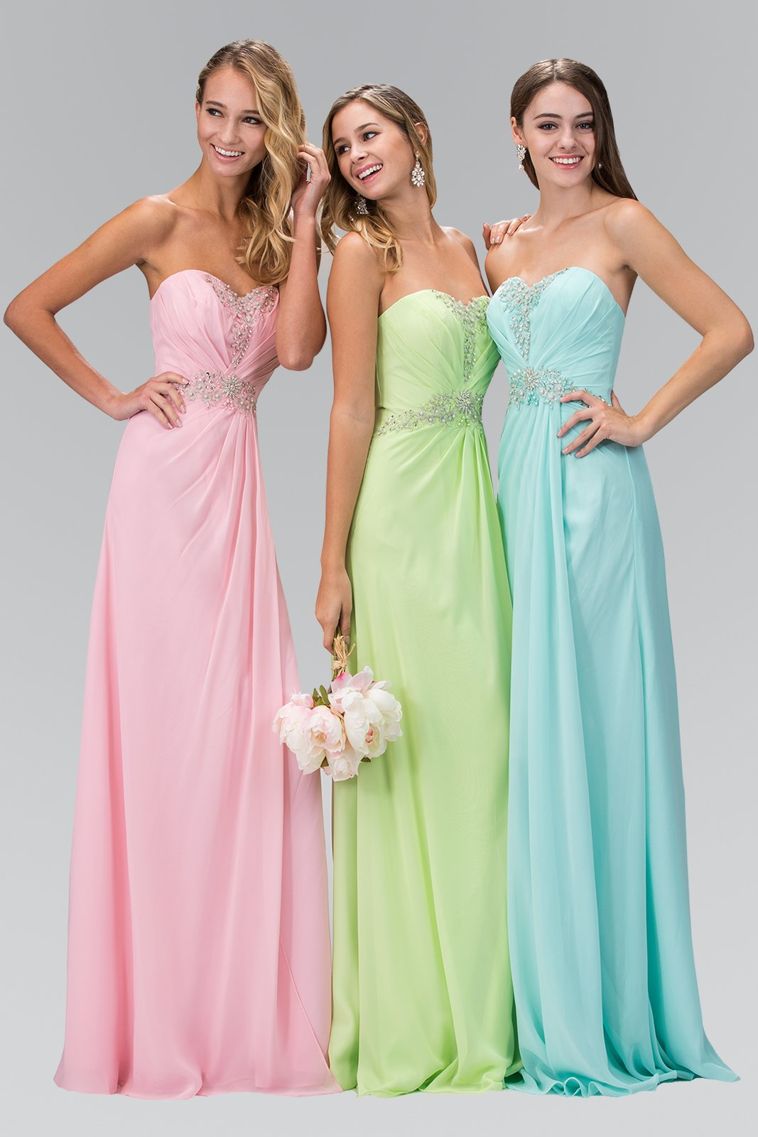 Elizabeth K - GL2060 Crystal Beaded Strapless Sweetheart A-Line Gown In Pink and Blue