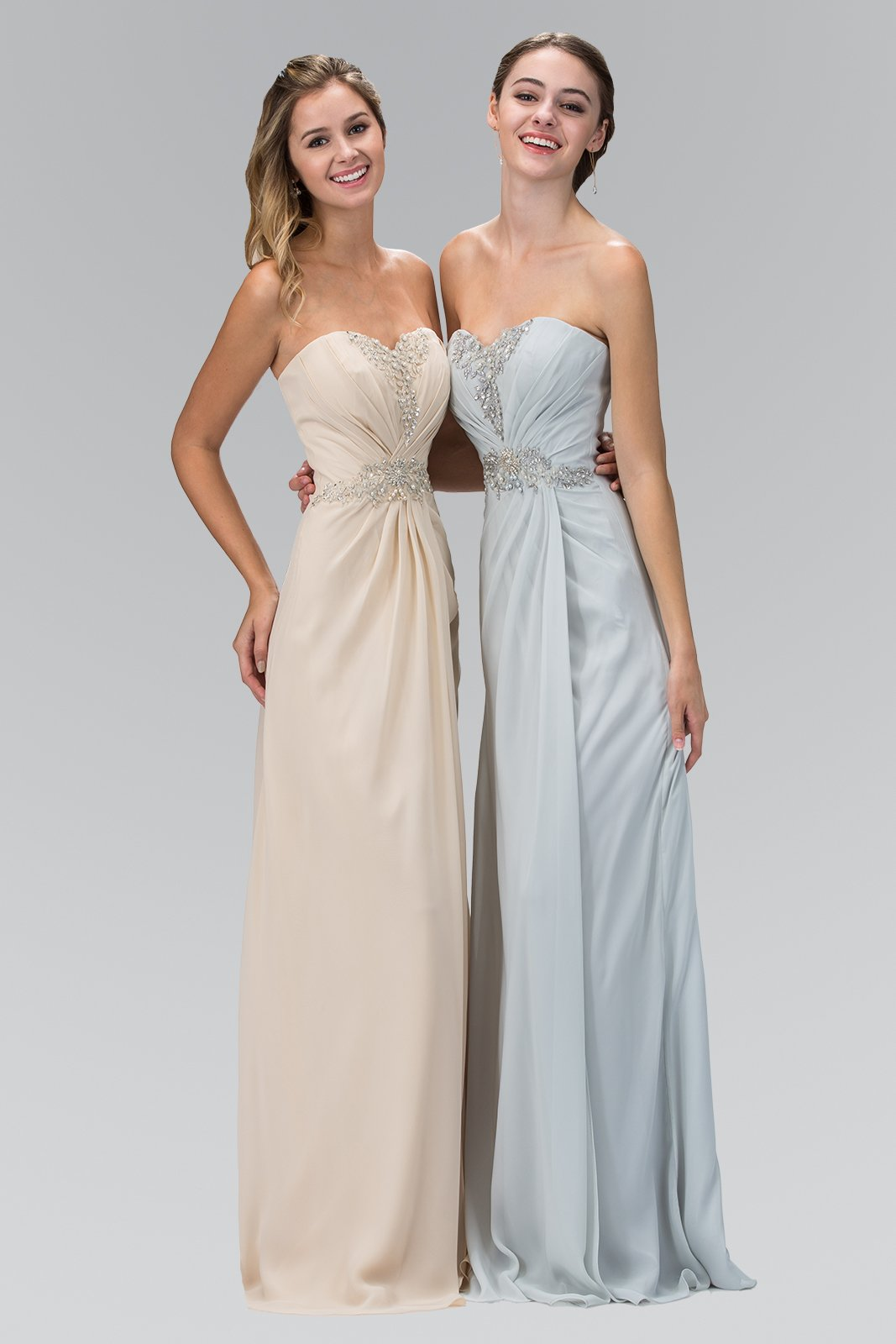 Elizabeth K - GL2060 Crystal Beaded Strapless Sweetheart A-Line Gown In Neutral and Gray