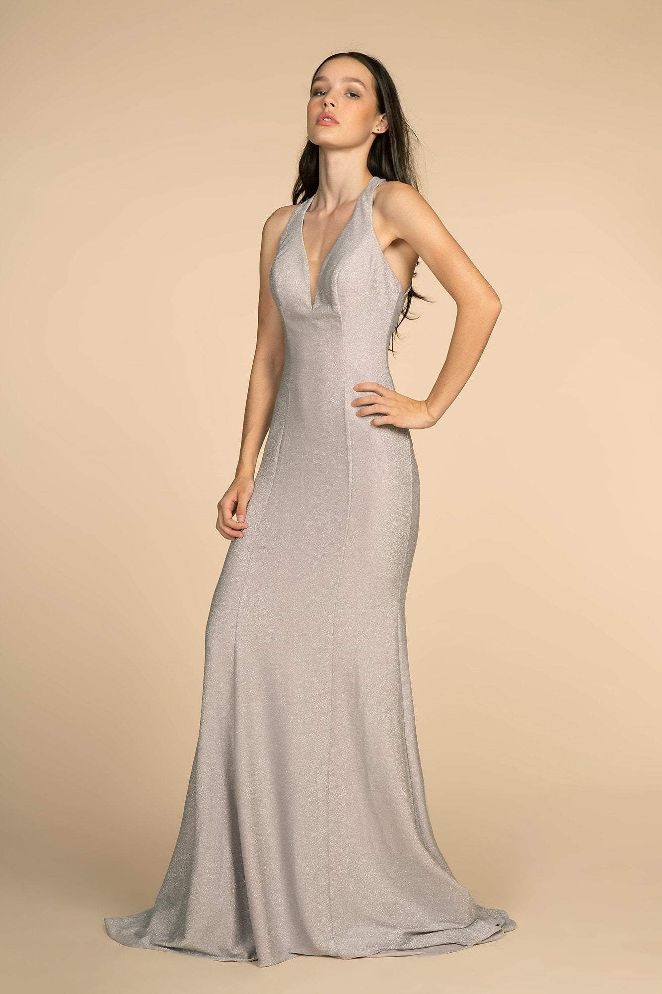 Elizabeth K - GL2549 V-neck Shimmer Fabric Mermaid Dress Special Occasion Dress XS / Silver
