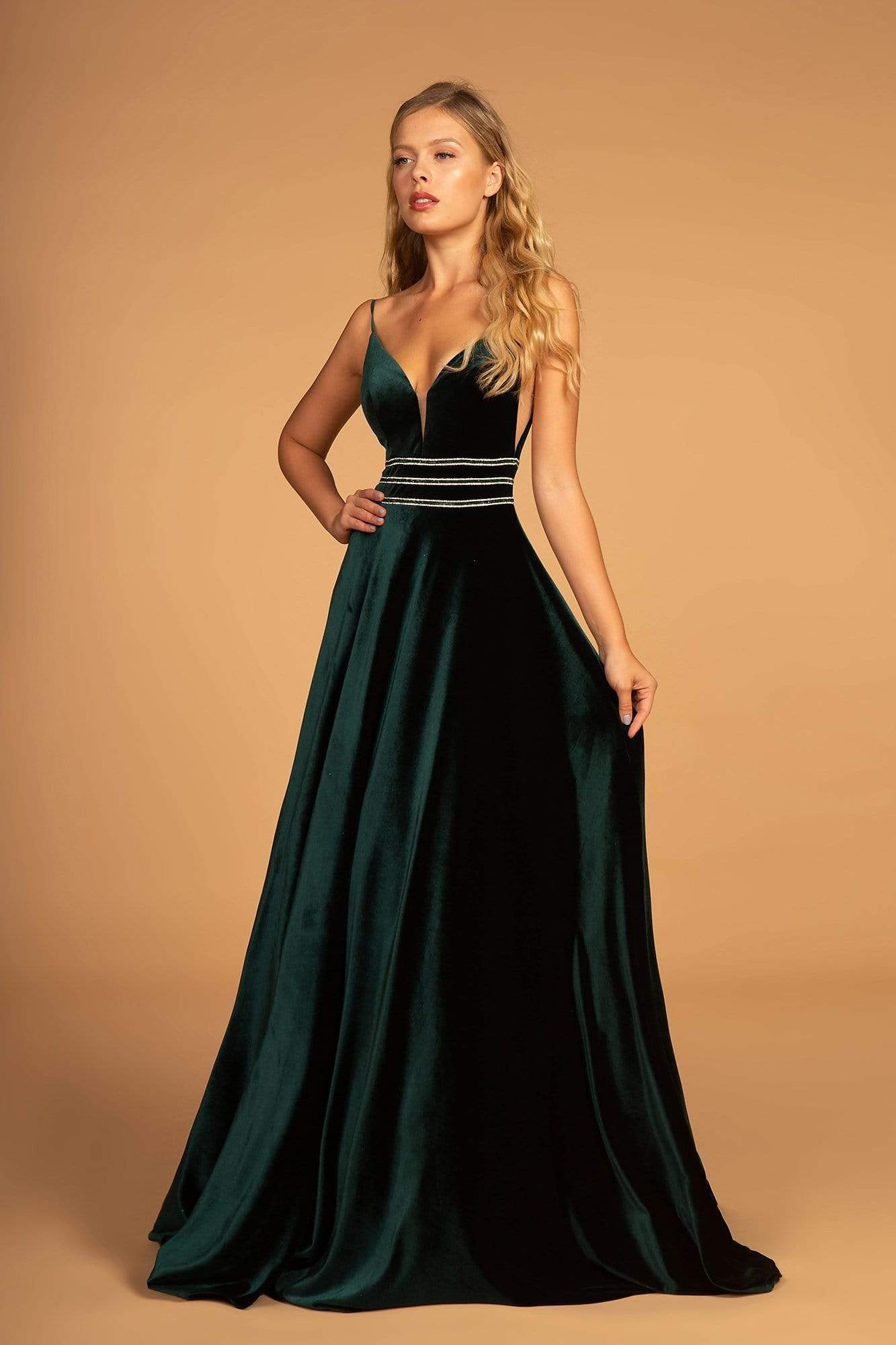 Elizabeth K - Illusion Plunging Velvet Long Gown GL2584 CCSALE L / Green