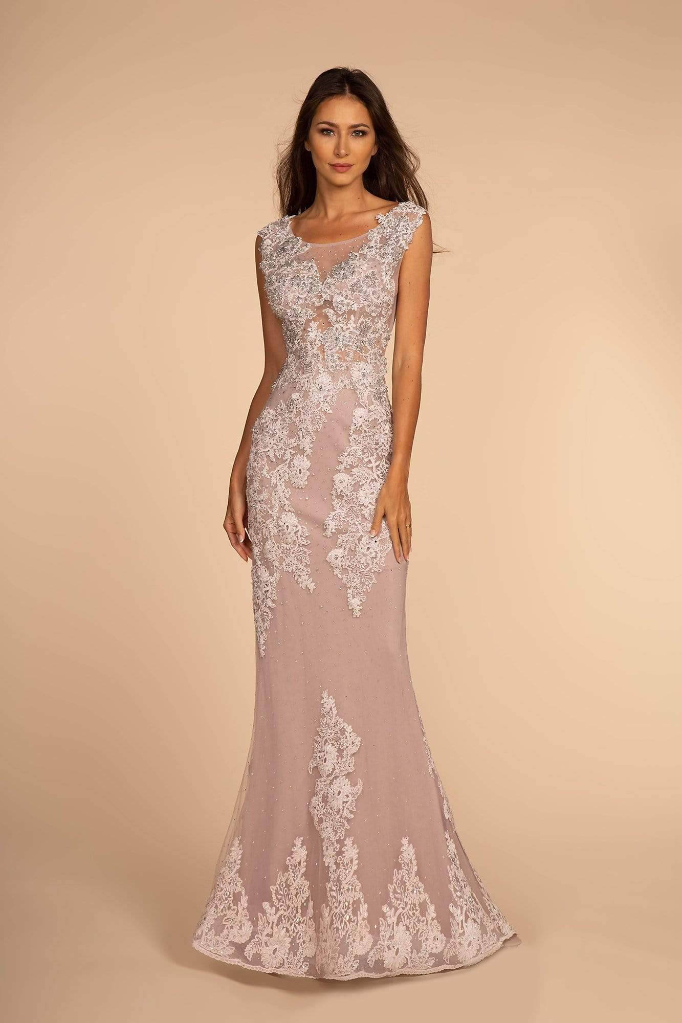 GLS by Gloria - GL2616 Cap Sleeve Appliqued Illusion Mermaid Gown Special Occasion Dress XS / Dusty Rose