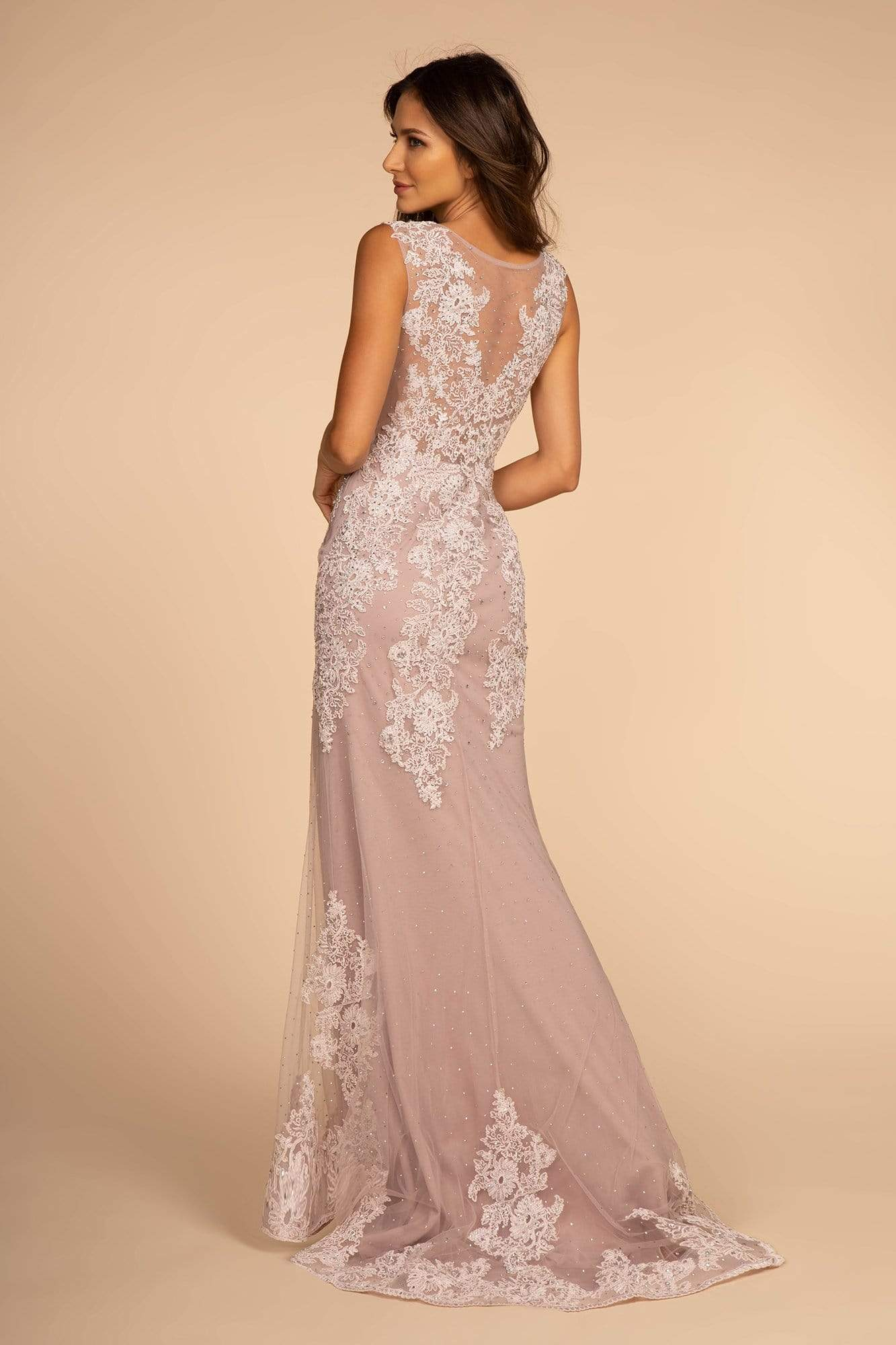 GLS by Gloria - GL2616 Cap Sleeve Appliqued Illusion Mermaid Gown Special Occasion Dress