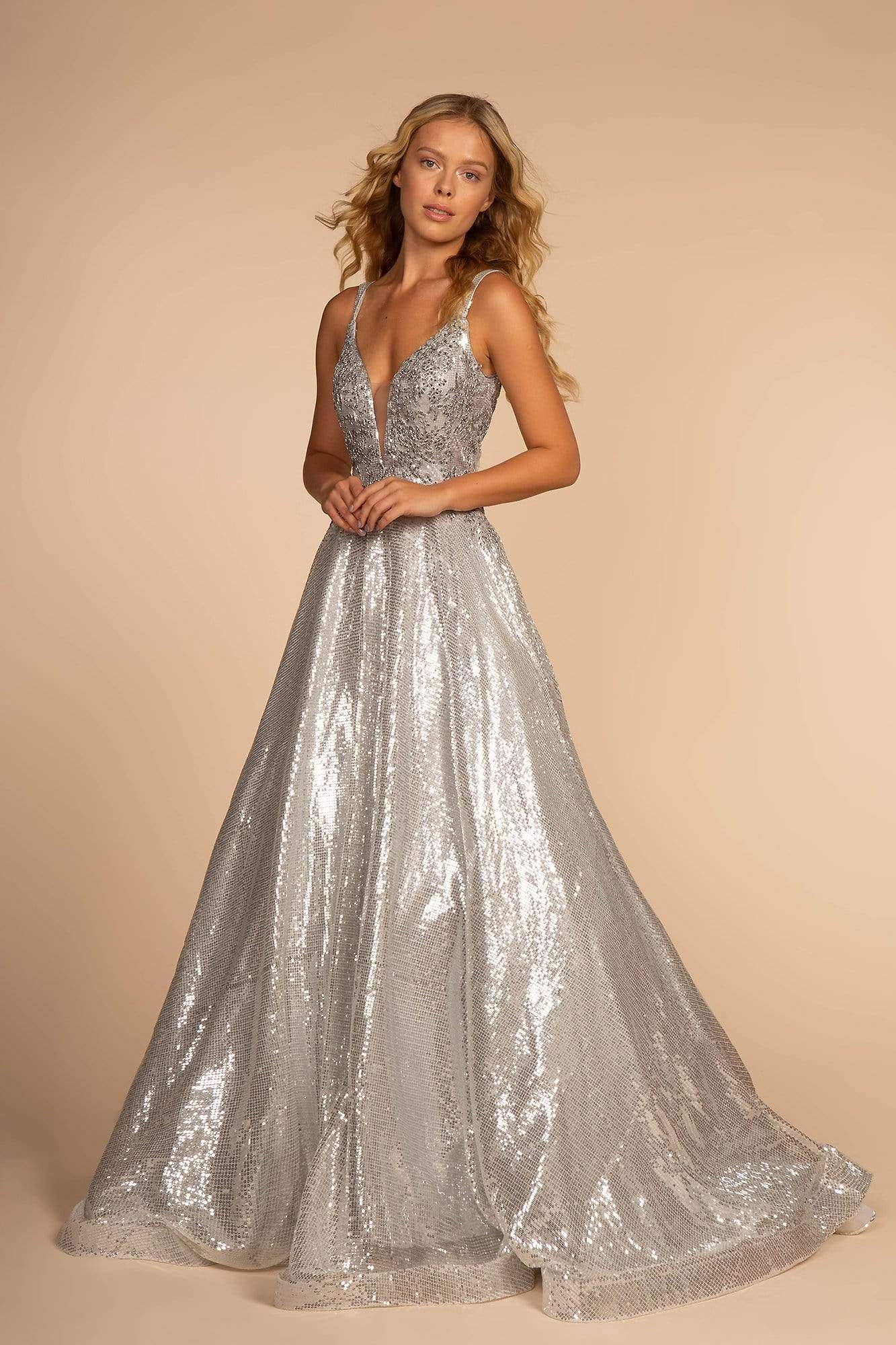 Elizabeth K - GL2652 Sequined Plunging V-Neck Gown Special Occasion Dress XS / Silver