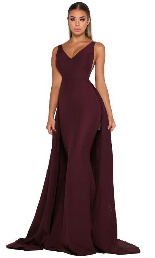 Portia and Scarlett - Endora Gown Vee Sleeveless Overskirt Gown In Red