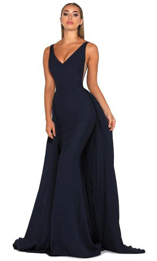 Portia and Scarlett - Endora Gown Vee Sleeveless Overskirt Gown In Blue