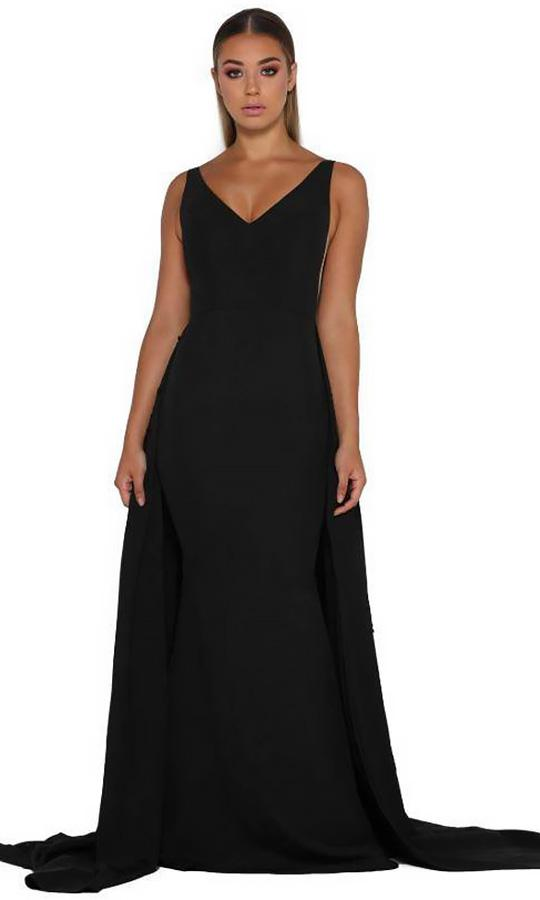 Portia and Scarlett - Endora Gown Vee Sleeveless Overskirt Gown In Black