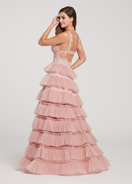 Ellie Wilde - EW119076 Ruched Beaded Lace Deep V-neck Tiered Dress In Pink