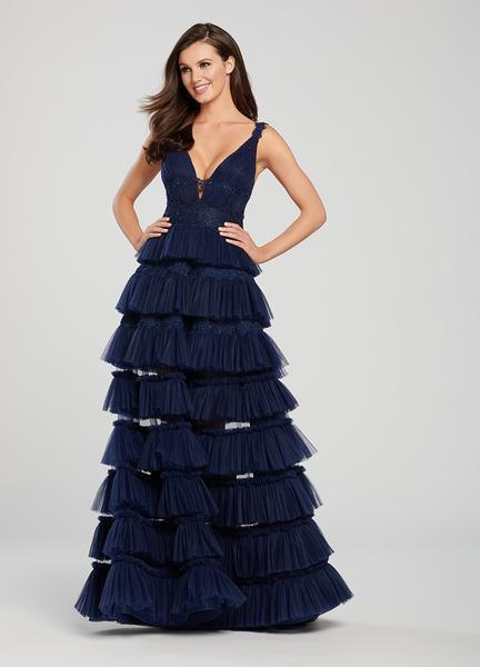 Ellie Wilde - EW119076 Ruched Beaded Lace Deep V-neck Tiered Dress In Blue