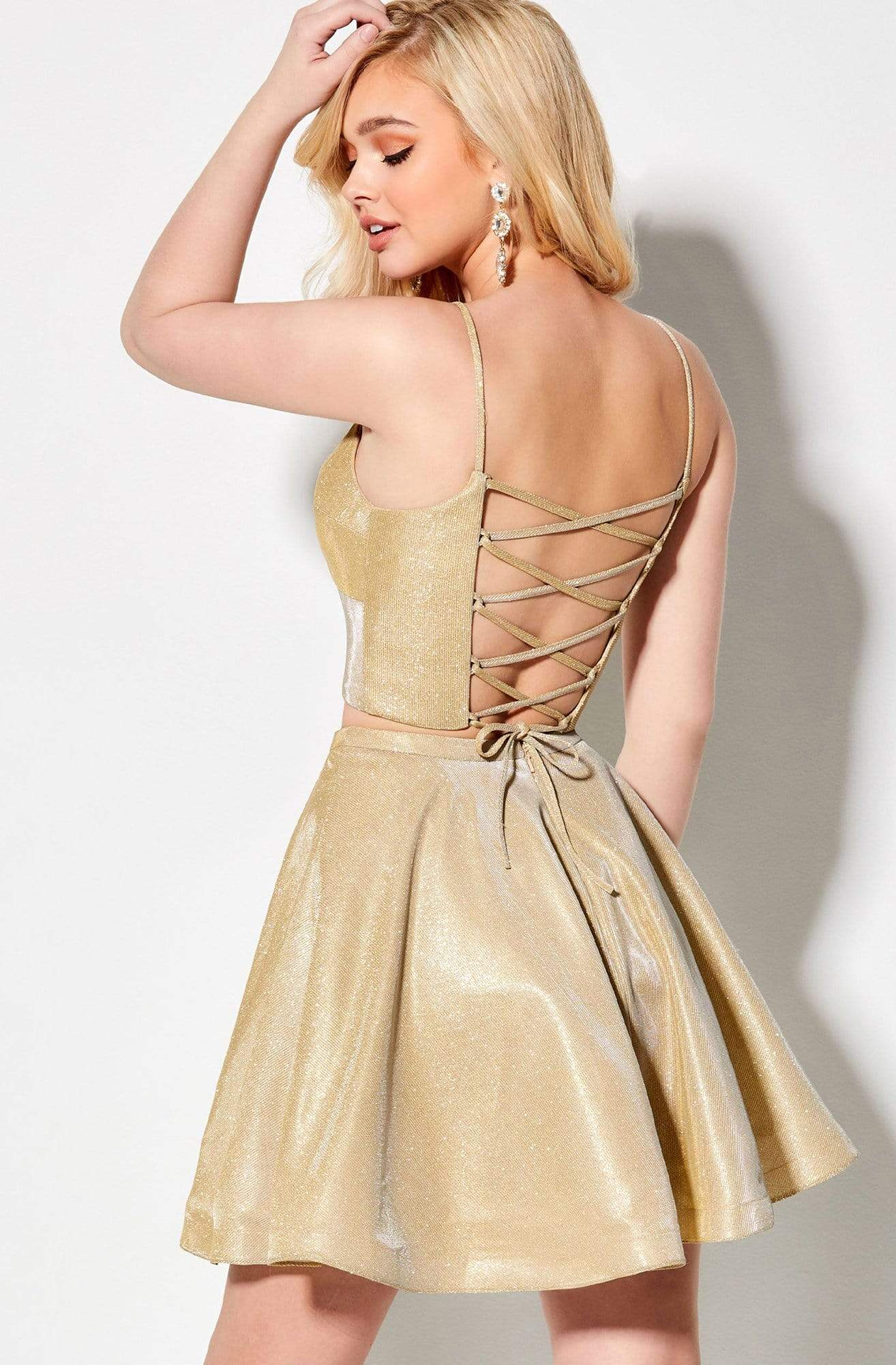 Ellie Wilde - EW21921S Two-Piece Lace-Up Back Glitter Stretch Dress In Gold