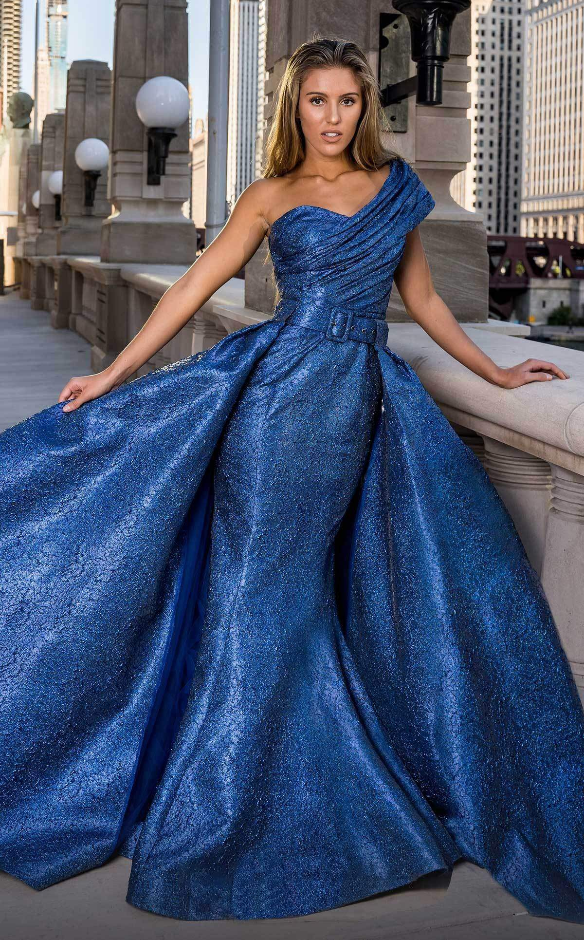 MNM COUTURE - F00613 One Shoulder Ruched Mermaid Dress With Overskirt Prom Dresses