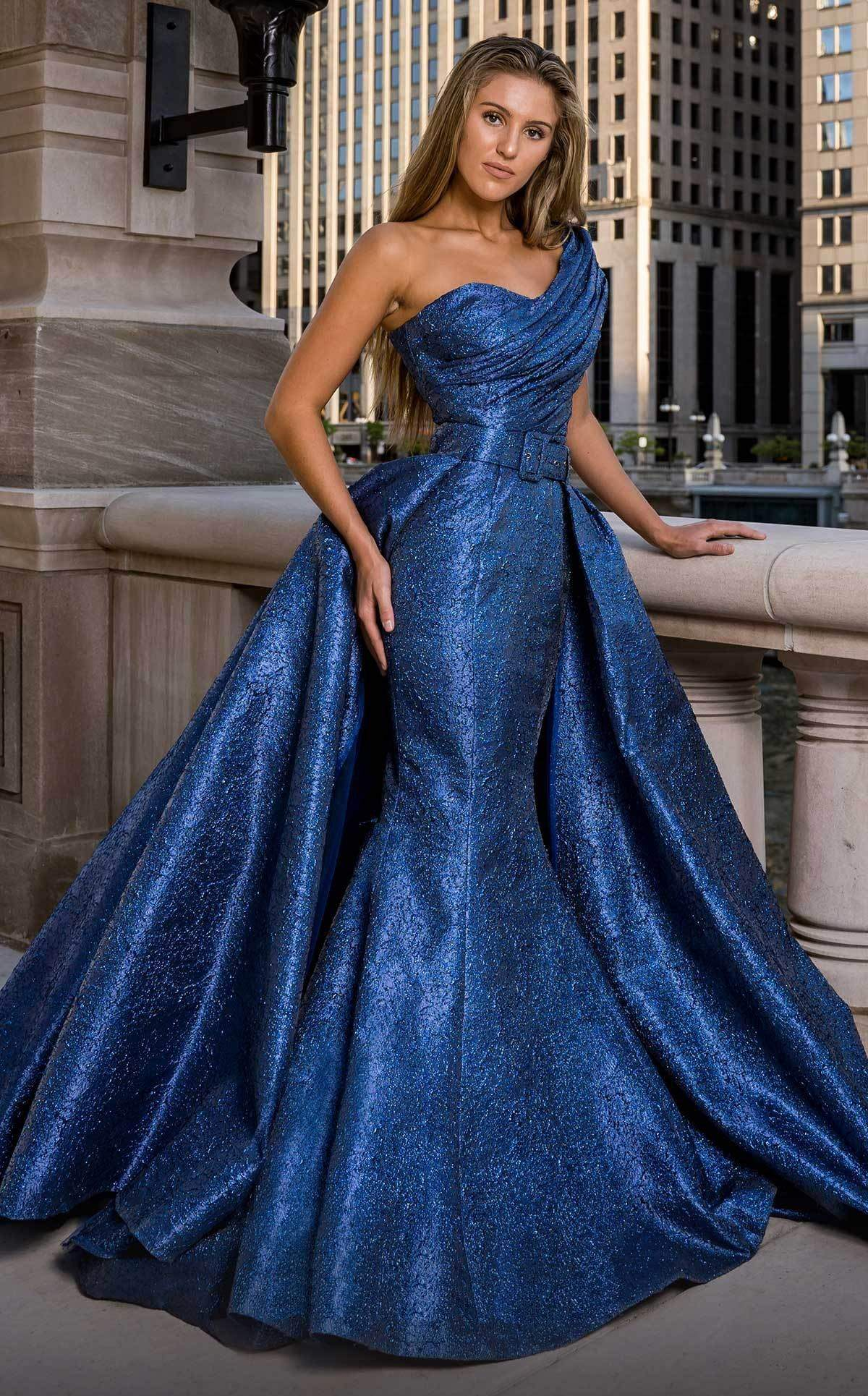 MNM COUTURE - F00613 One Shoulder Ruched Mermaid Dress With Overskirt In Blue