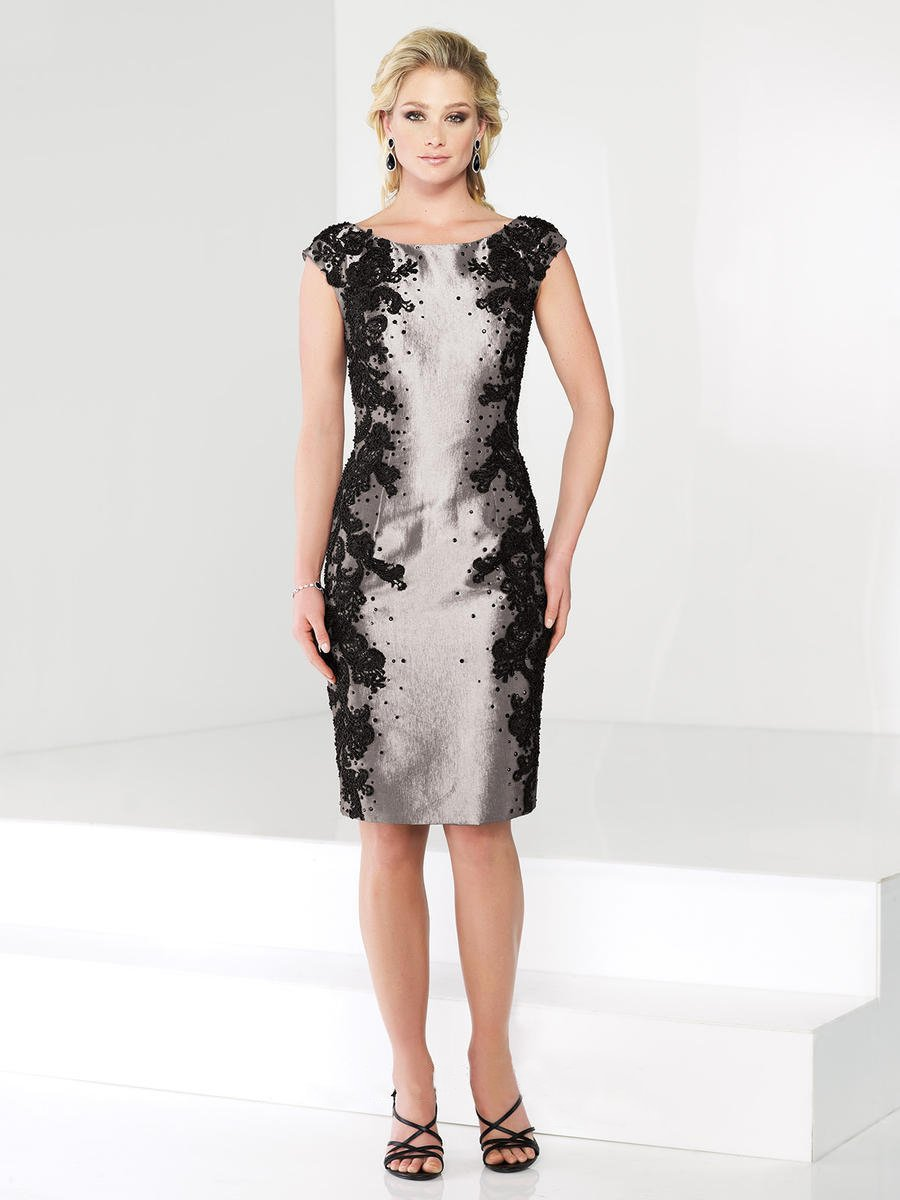 Social Occasions by Mon Cheri - 215810 Short Dress In Pewter Black