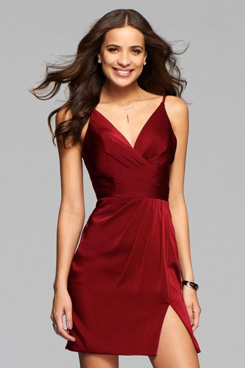Faviana Fitted V-Neck Draped Cocktail Dress 7850 - 1 pc Wine In Size 8 Available In Red