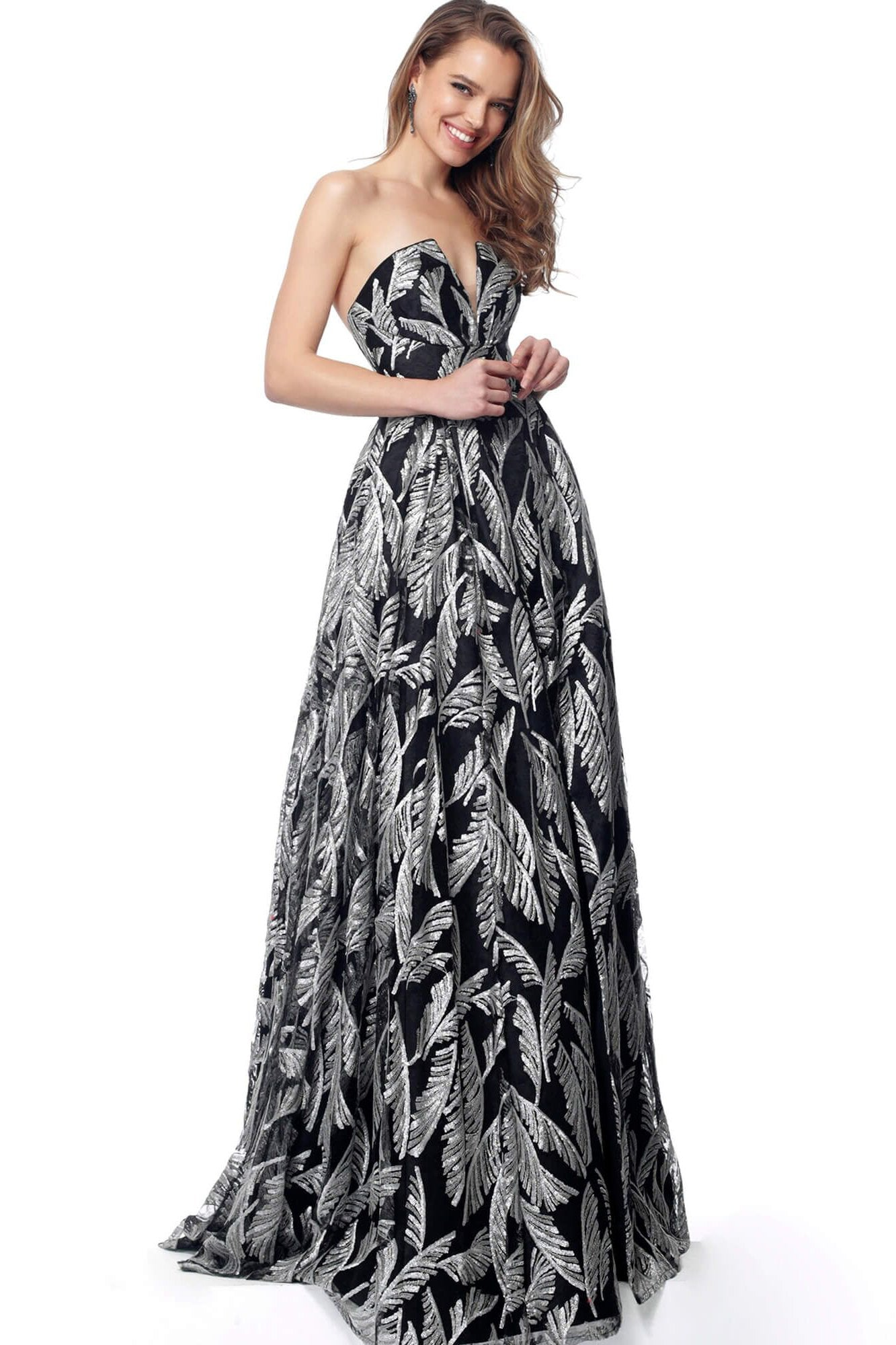 Jovani - 67561 Sequined Strapless A-line Dress In Black and Silver