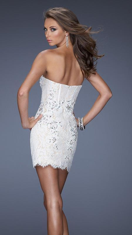 GiGi - Beaded Lace Strapless Lace Cocktail Dress 20054 In White and Nude