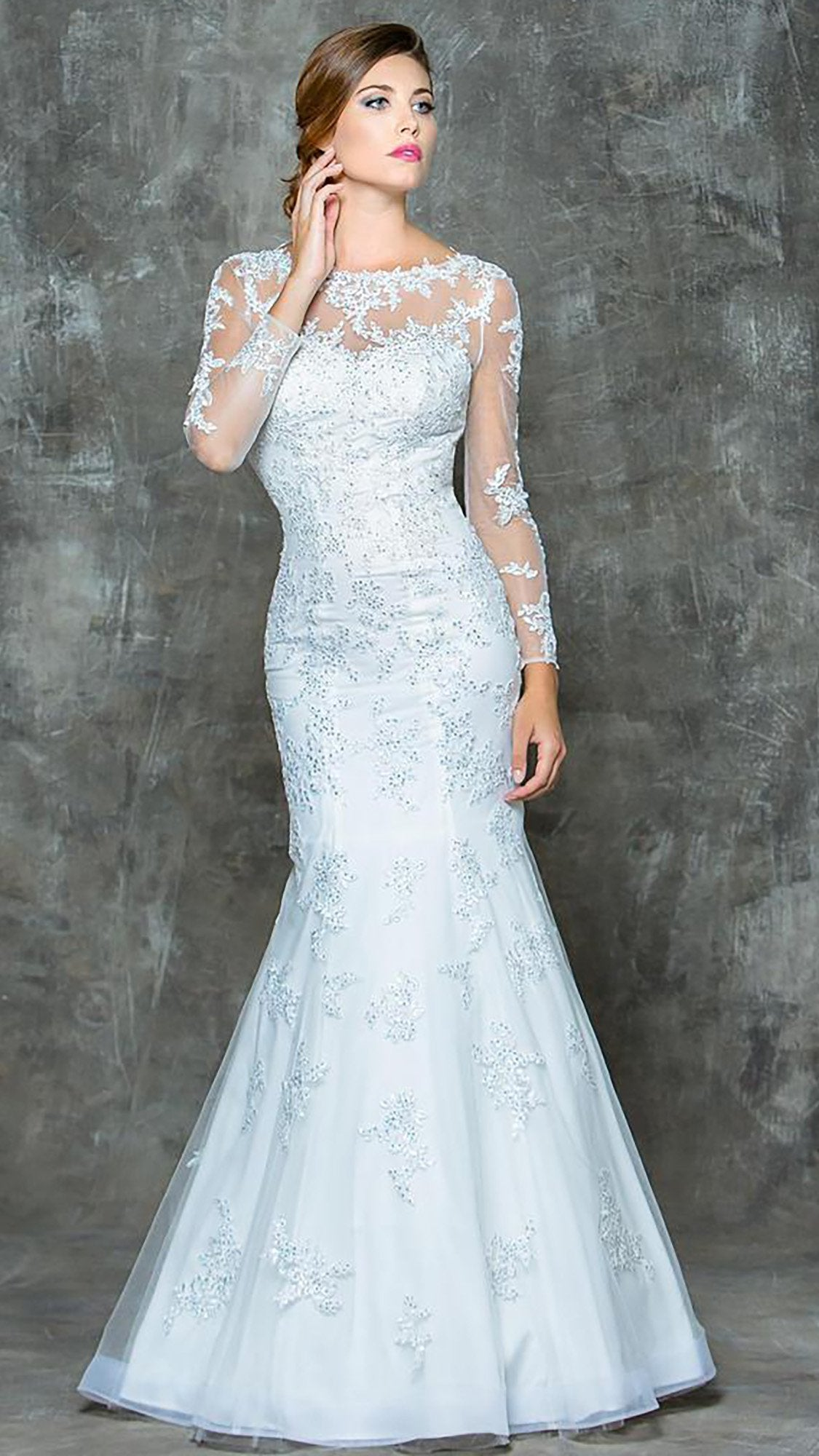 Colors Dress - G665 Long Sleeve Lace Illusion Mermaid Gown  in Gray
