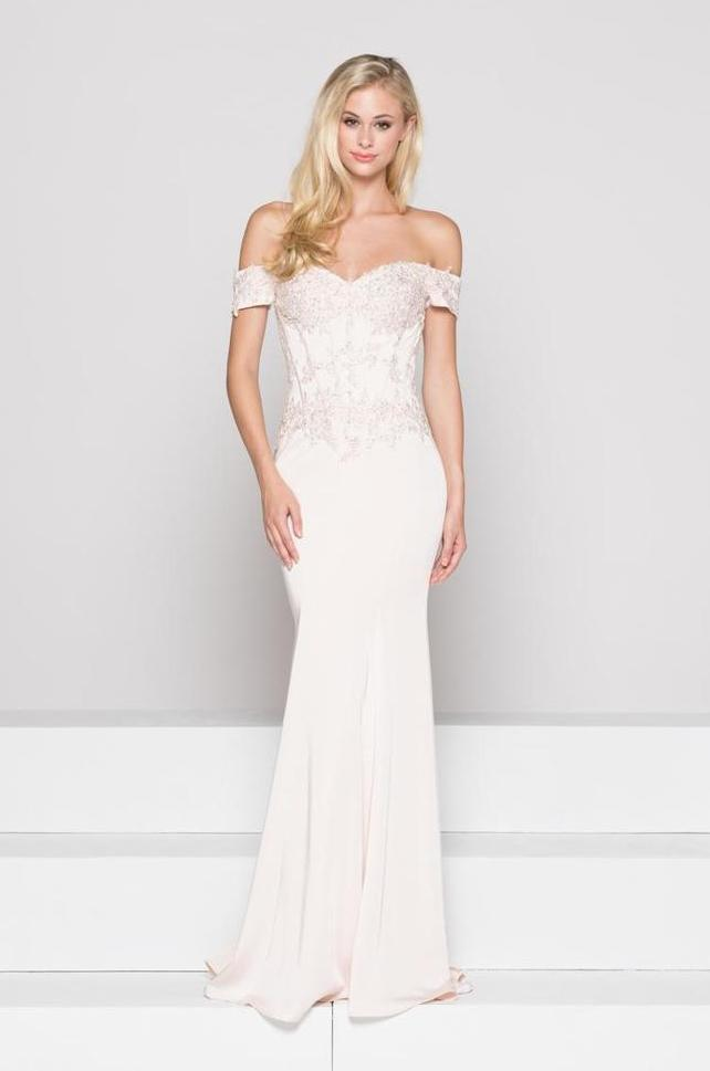 Glow by Colors - G786SC Lace Applique Off-Shoulder Gown