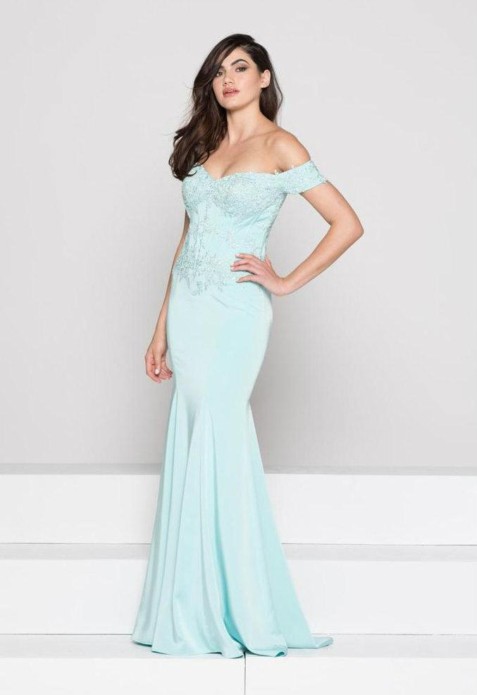 Glow by Colors Off Shoulder Lace Corset Long Gown in Aqua