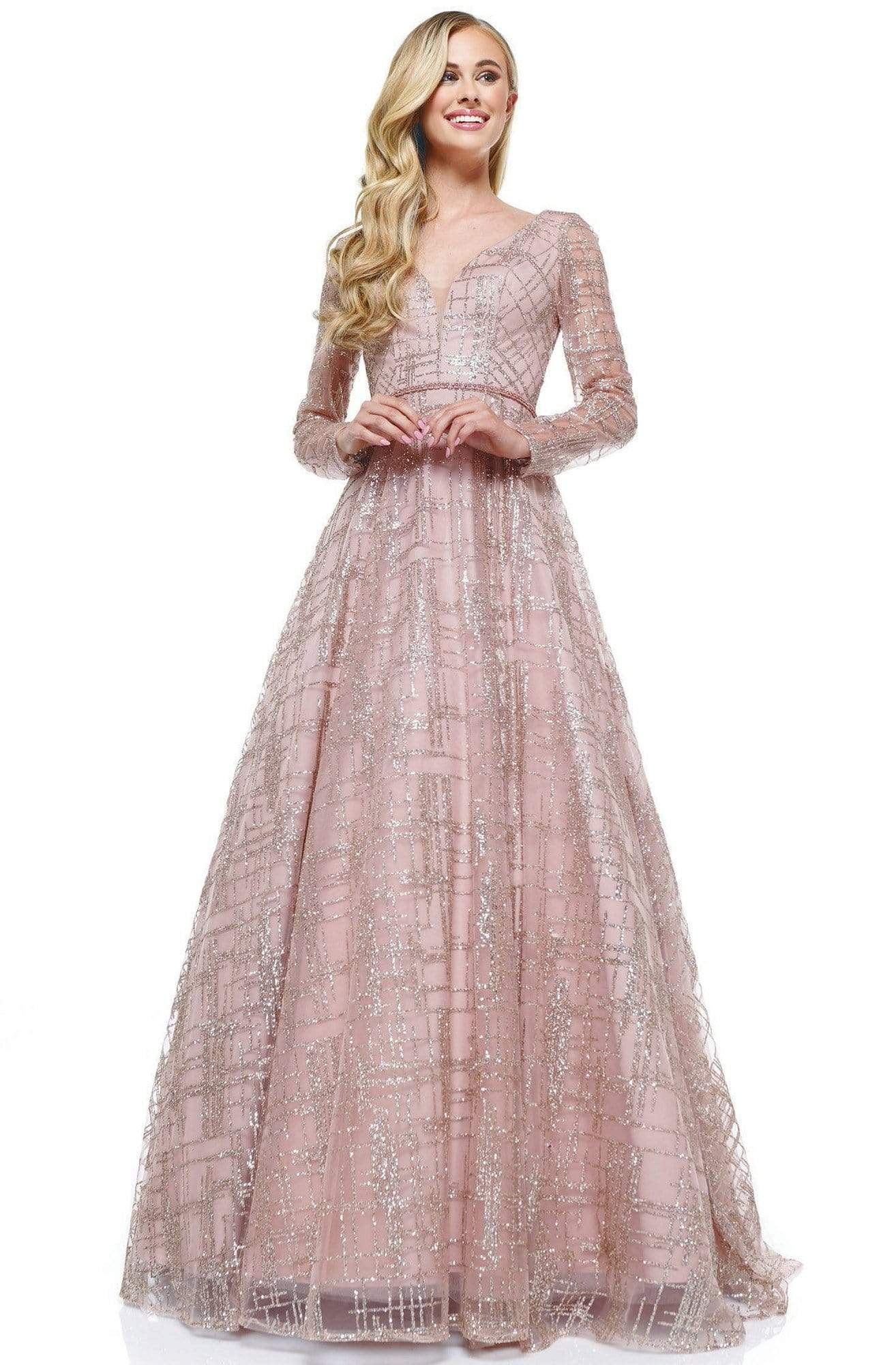 Glow Dress - G902 Beaded Long Sleeve Deep V-neck A-line Dress Prom Dresses 2 / Rose Gold