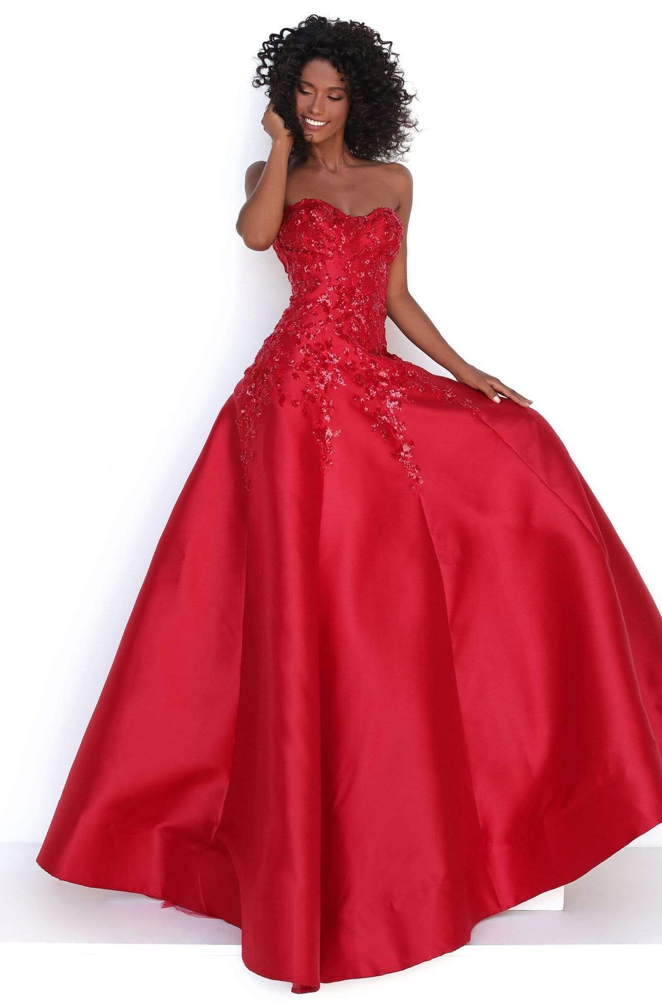 Tarik Ediz - 50695 Strapless Sweetheart Sequined Floral Gown Evening Dresses 0 / Red