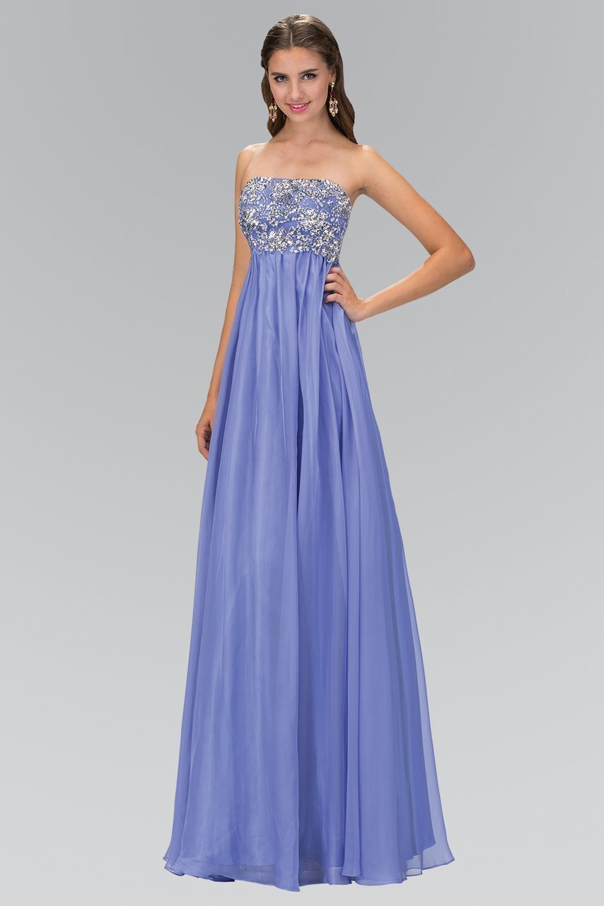 Elizabeth K - Strapless Ornate Chiffon Empire Gown GL1069 In Purple
