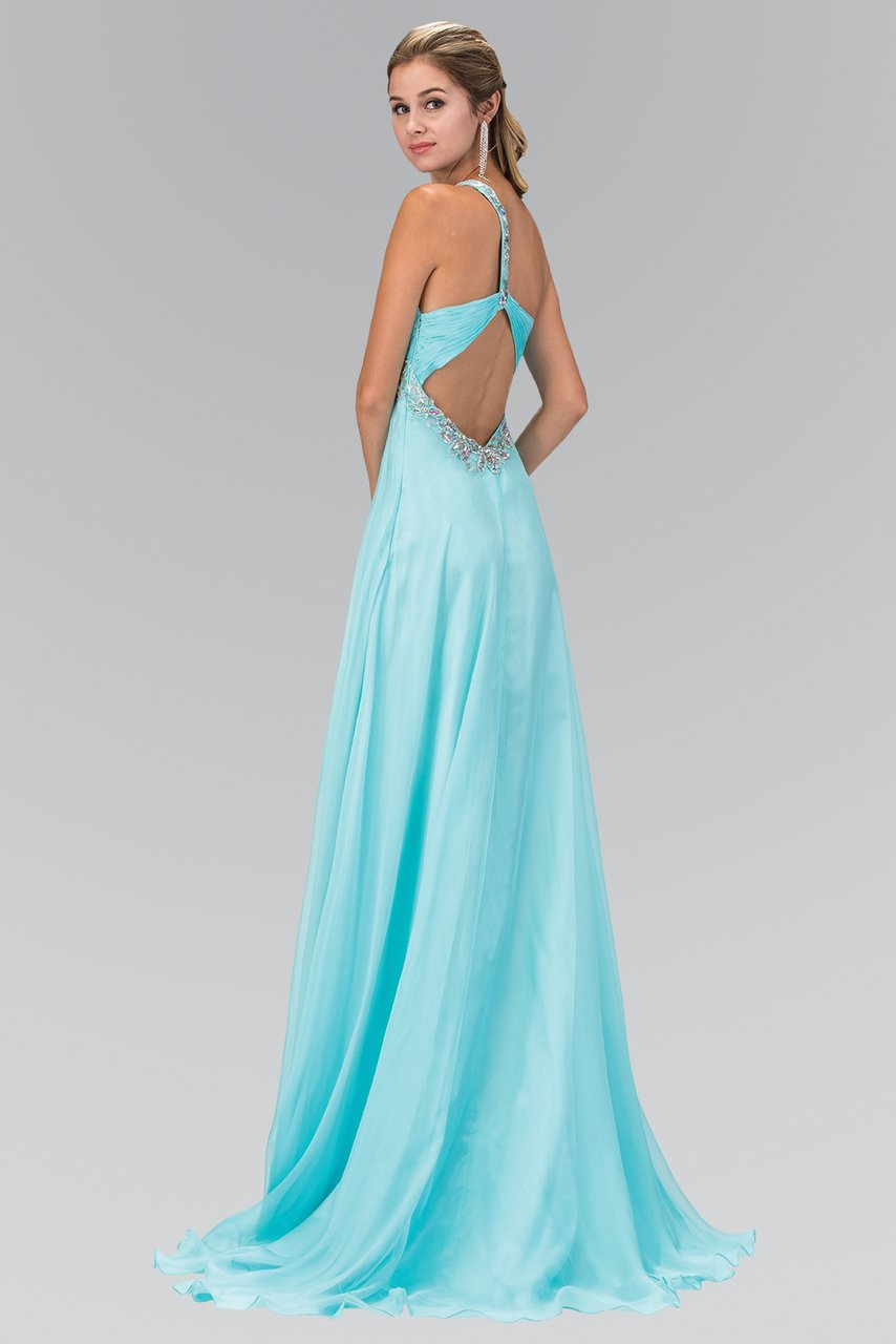 Elizabeth K - Jewel Accent One Shoulder A-LIne Chiffon Dress GL1084SC
