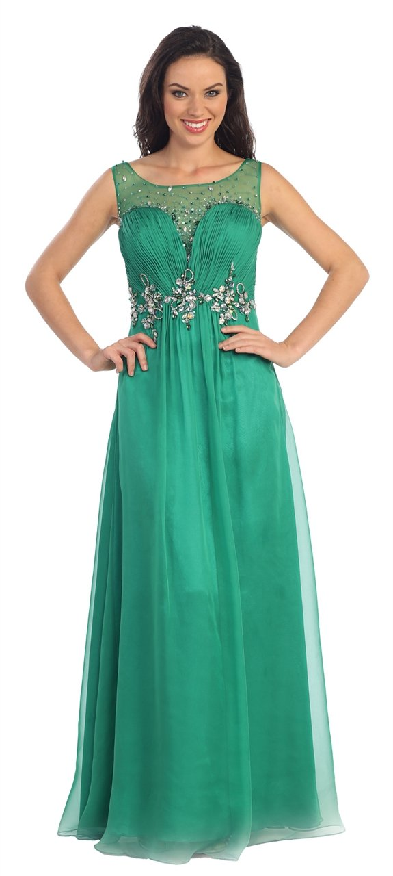 Elizabeth K - Jeweled Sleeveless Ruched Bodice A-Line Gown GL1131SC