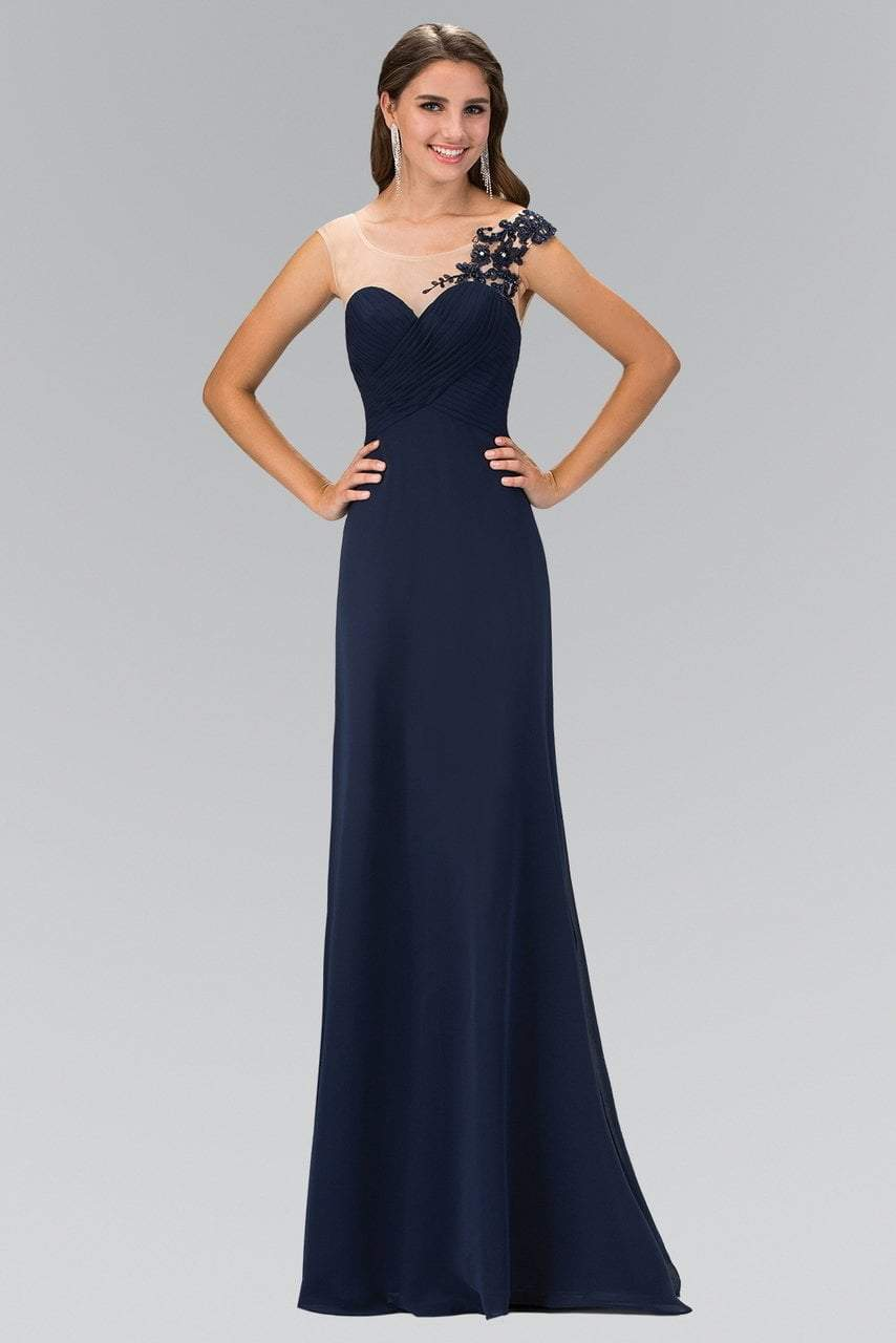 Elizabeth K - Floral Applique One Shoulder Empire Long Gown GL1332SC