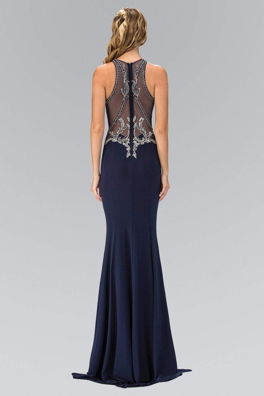Elizabeth K - Sheer Side Illusion Back Evening Dress GL1357SC