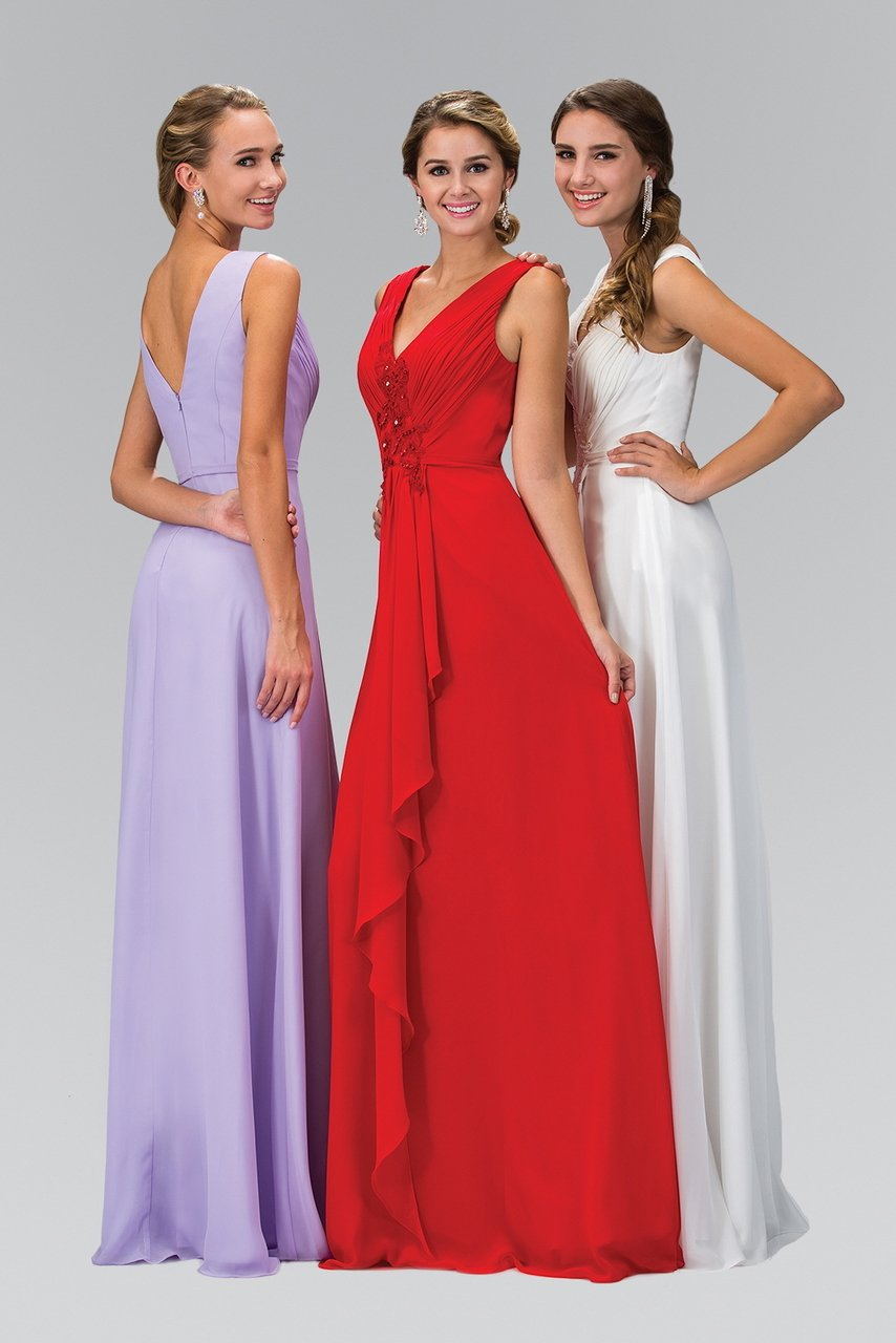 Elizabeth K - Floral Bead Pleated V Neck A-Line Chiffon Gown GL1378SC