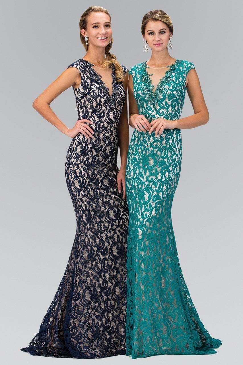 Elizabeth K - V-Neck Beaded Lace Evening Dress GL1420SC