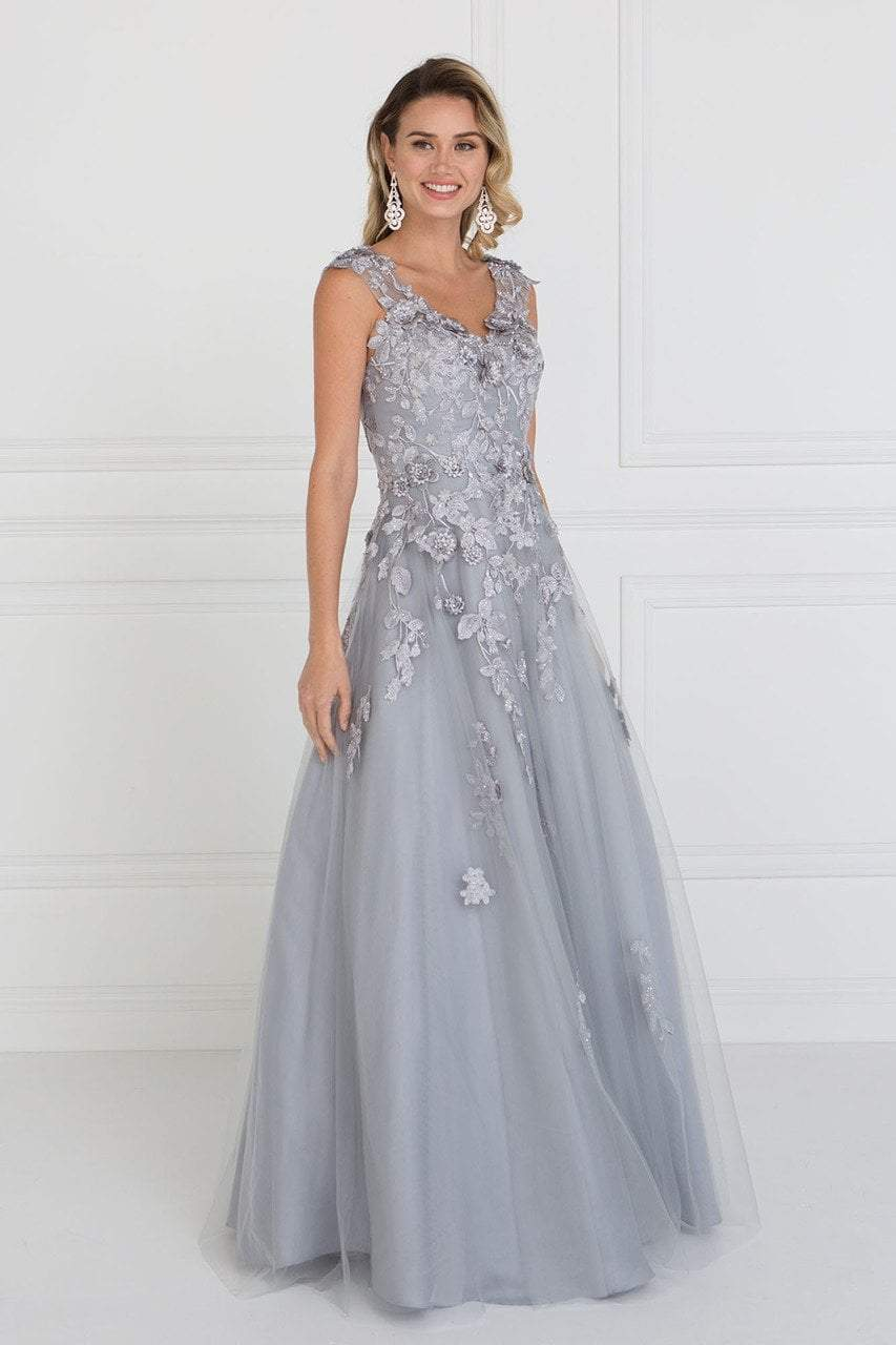 Elizabeth K - Beaded Applique Cap Sleeve Long Dress GL1517SC