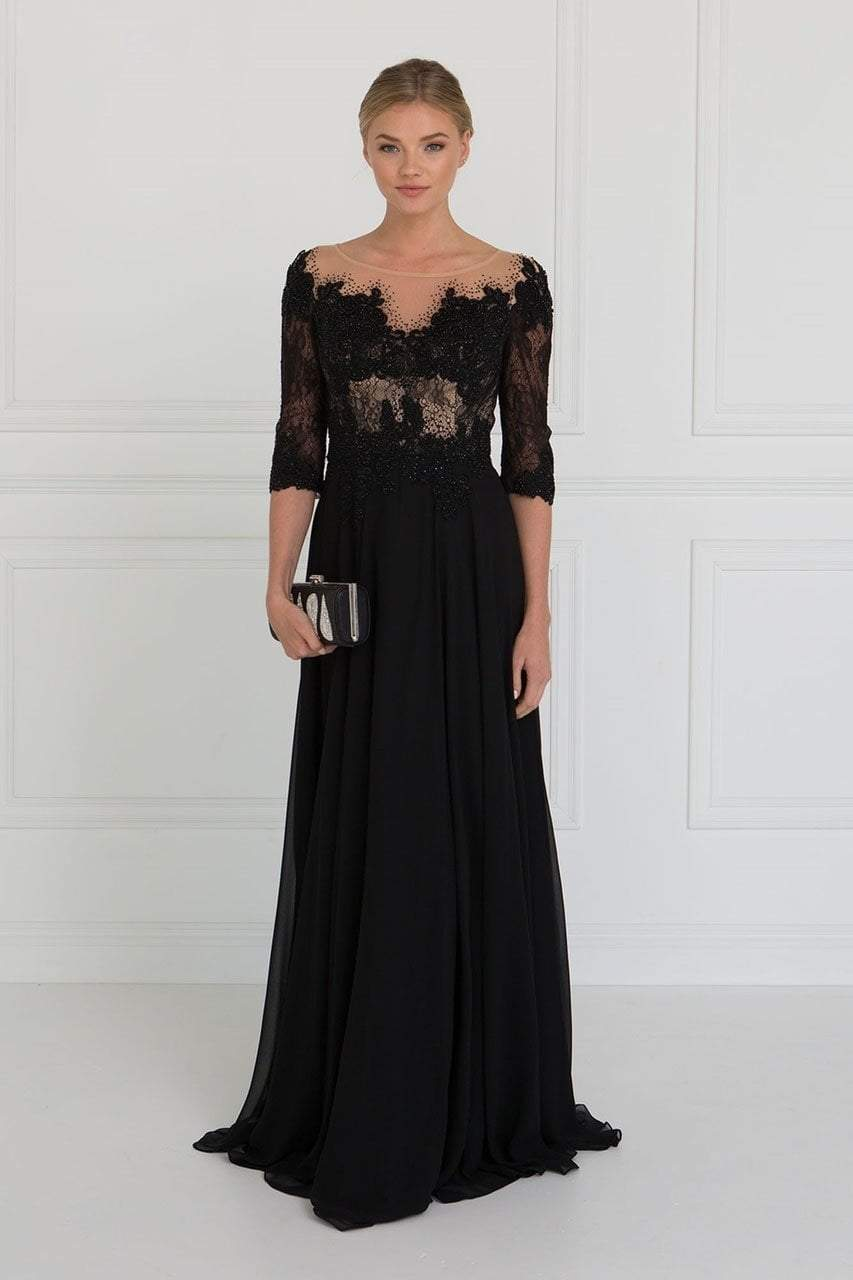 Elizabeth K - Jeweled Chiffon A-Line Evening Dress GL1528SC