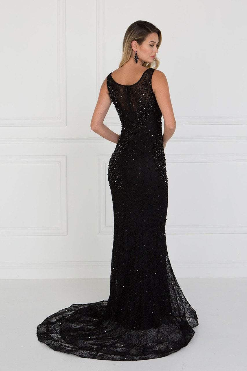 Elizabeth K - Beaded Illusion Scoop Sheath Evening Gown GL1544SC