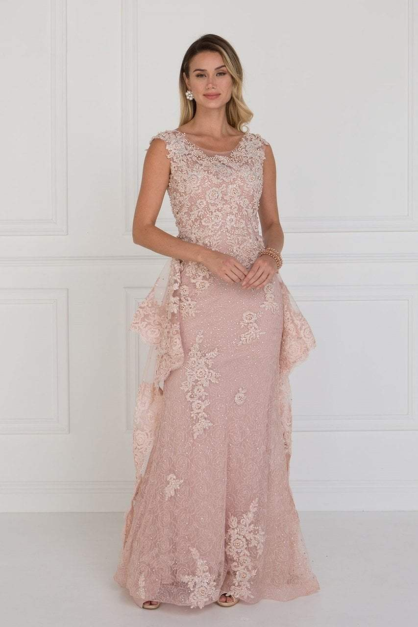 Elizabeth K - GL1581 Appliqued Illusion Peplum Ornate Lace Gown Special Occasion Dress XS / Blush