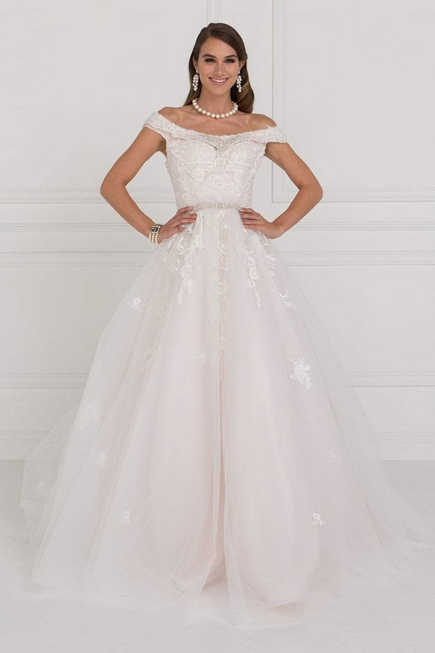Elizabeth K Bridal Jewel Adorned Off Shoulder Trailing Paneled Gown GL1589 In White and Nude