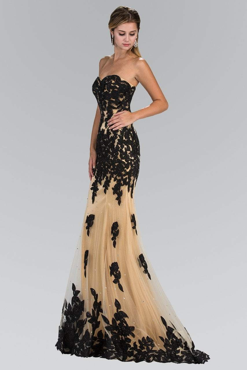 Elizabeth K - GL2005 Floral Applique Sweetheart Sheath Gown Special Occasion Dress XS / Black/Gold