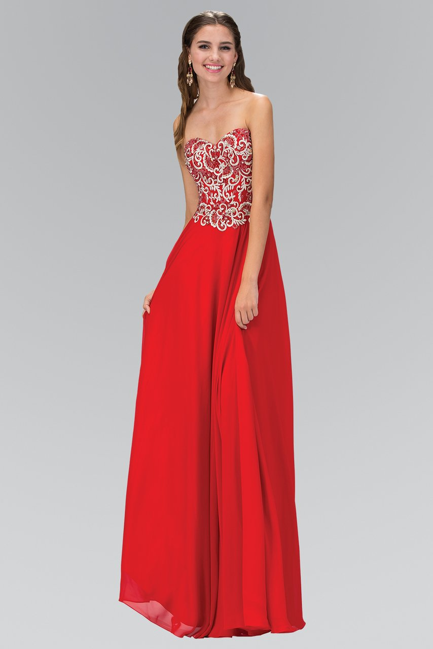 Elizabeth K - Beaded Embroidered Fitted Bodice A-Line Gown GL2018SC