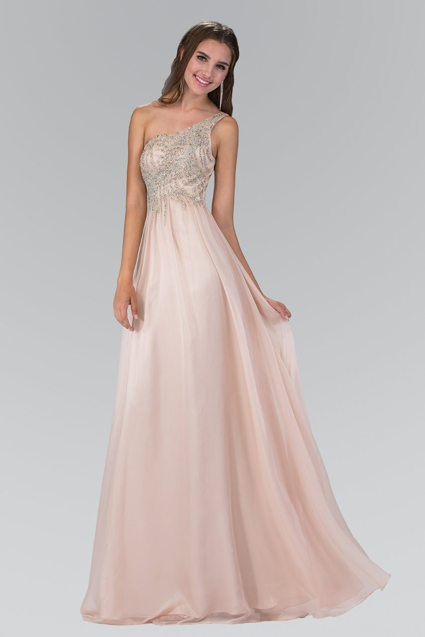 Elizabeth K - One Shoulder Jeweled Chiffon Evening Dress GL2094SC