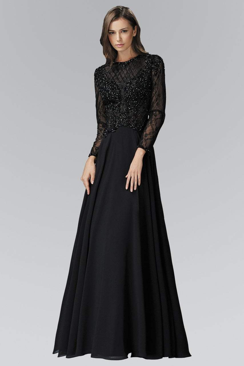 Elizabeth K - Jewel Long Sleeve A-line Evening Dress GL2097SC