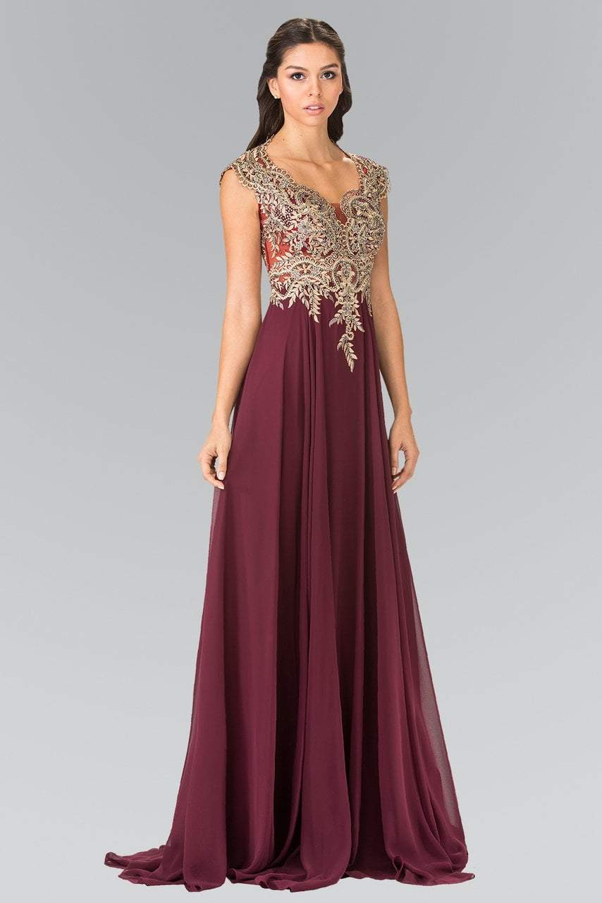 Elizabeth K - Beaded Embroidered Bodice Chiffon Flared Gown GL2229SC